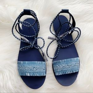 J. Crew Raffia Ankle Wrap Sandals New